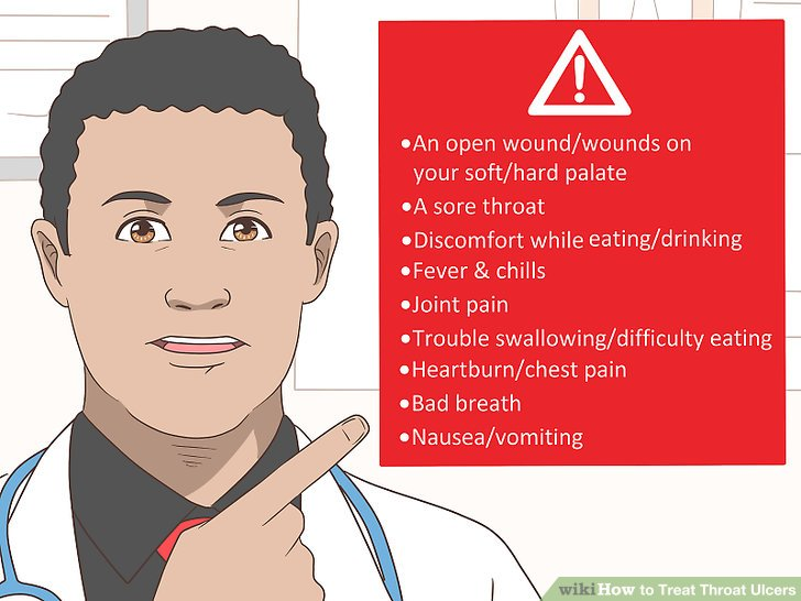 Recognize signs of a throat ulcer.