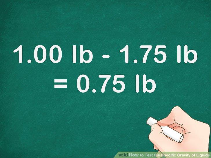 Erhalten Sie das Gewicht einer identischen Wassermenge.