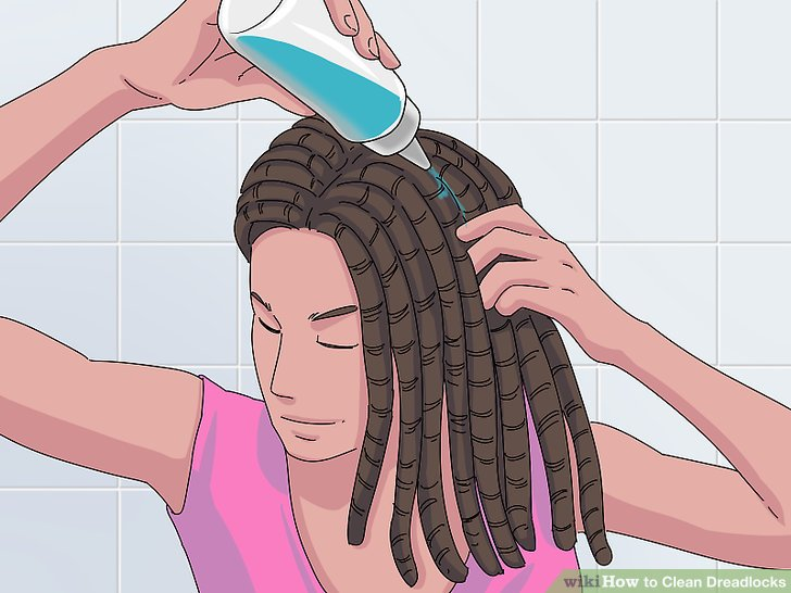 Have ready a large bottle of water and vinegar, mixed at a 3:1 ratio, enough to rinse over your scalp and lightly through your dreads.