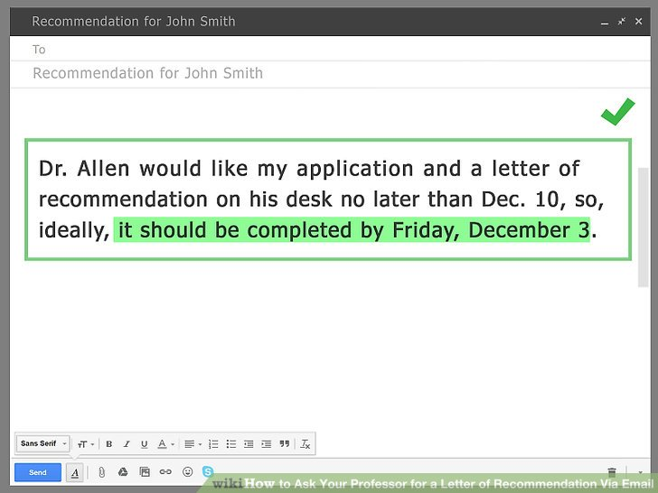 how to write an email to a professor for a letter of recommendation
