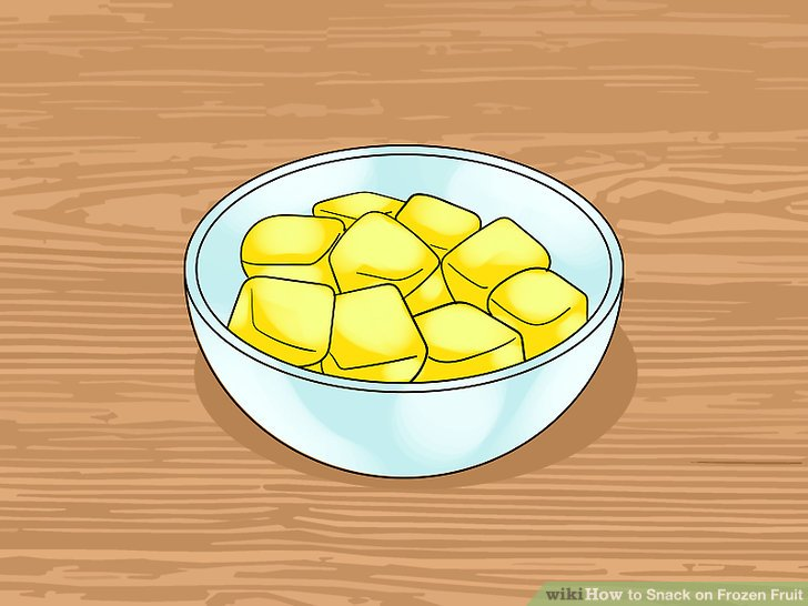 Mango-Würfel einfrieren.