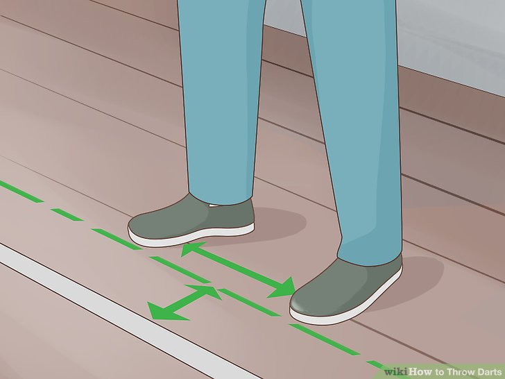 Stand with your feet hip width apart behind the throw line.