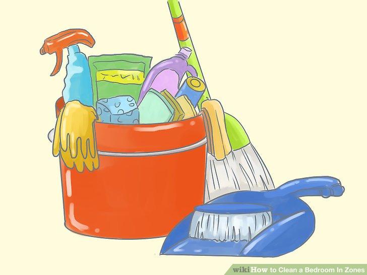 Sammeln Sie Reinigungsmittel und reinigen Sie den Raum!