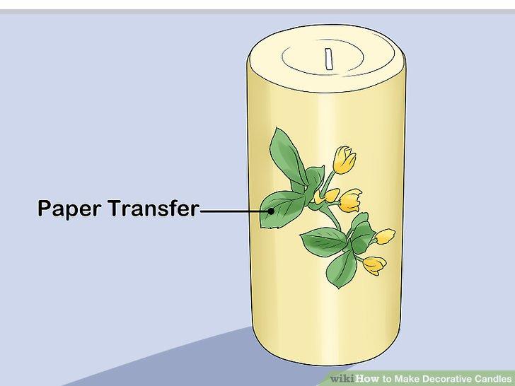 Verzieren Sie eine Kerze mit einer Papierübertragung.