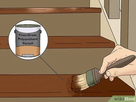 How To Stain Stairs With Pictures Wikihow | Staining Pine Stair Treads | Painting | White Pine | Wooden | Tile | Stained White Oak