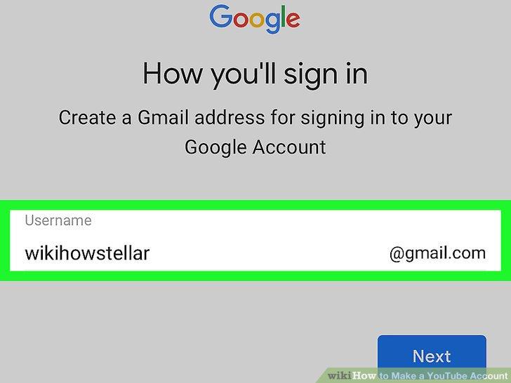 Erstellen Sie einen Google Mail-Nutzernamen.