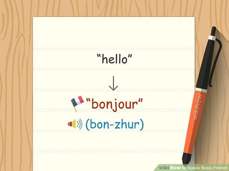 """Begrüßen Sie die Menschen, indem Sie """"Salut"""", """"Bonjour"""" und """"Bonsoir"""" sagen."""