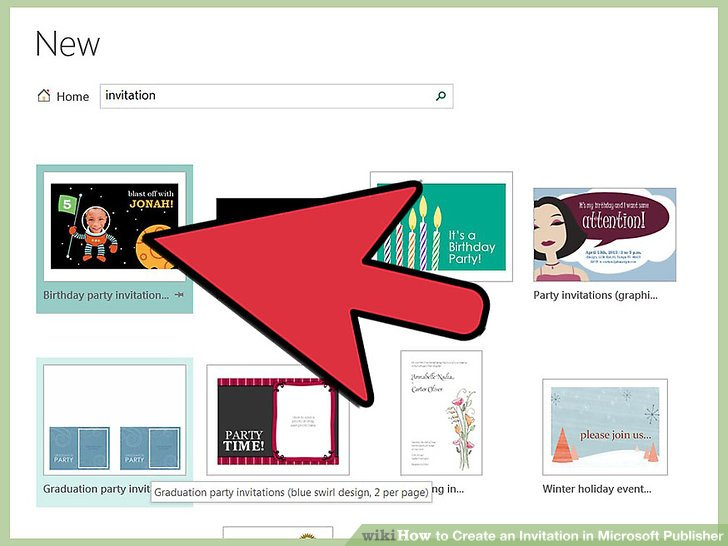 Image Led Create An Invitation In Microsoft Publisher Step 1