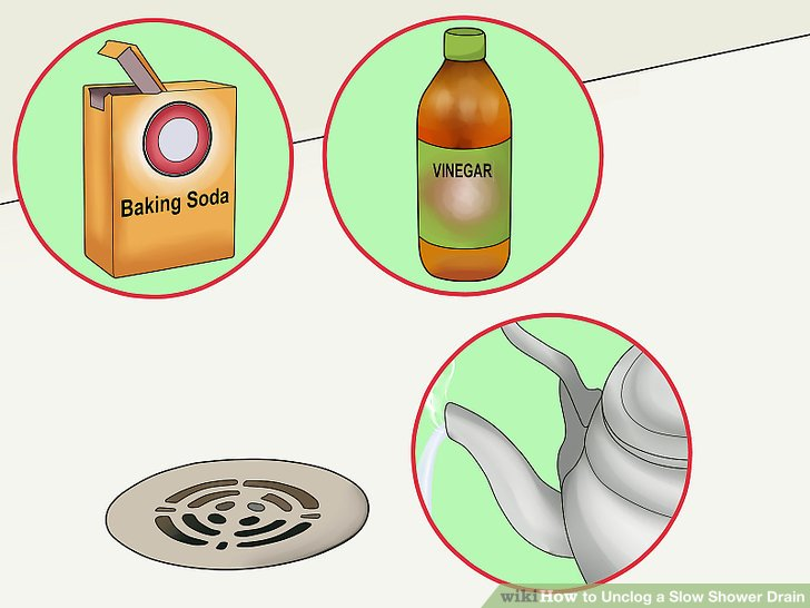 Try vinegar, baking soda, and hot water.