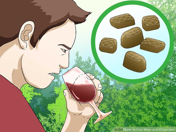 Trinken Sie einen süßen oder Dessertwein mit Milchschokolade.