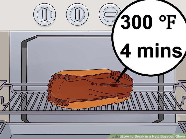 Legen Sie den Handschuh vier Minuten lang in einen Ofen bei 300ºF.