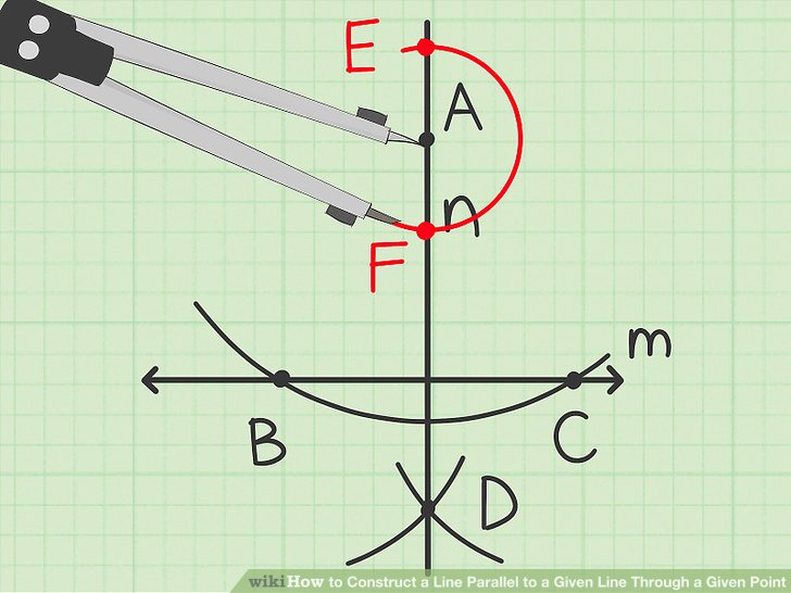Draw an arc that intersects the perpendicular line at two different points.