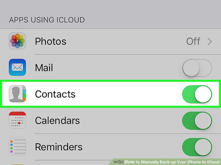 Wählen Sie die zu sichernden iCloud-Daten aus.