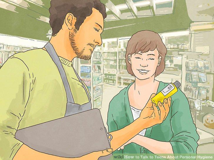 Holen Sie sich Ihren Teenager für Produkte für die persönliche Hygiene.