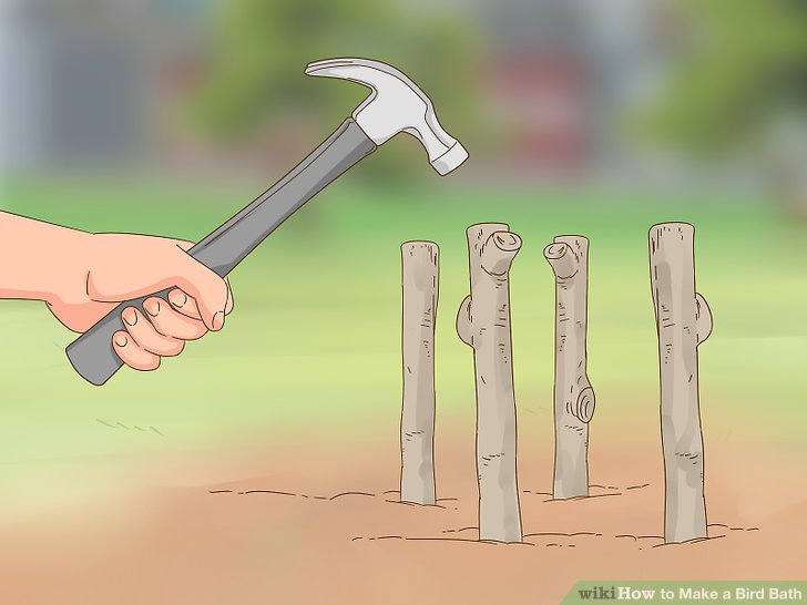 Hammer the branches into the ground.