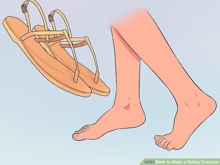Gehen Sie barfuß oder tragen Sie fleischfarbene Sandalen.