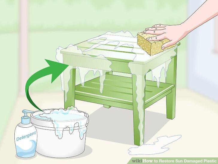Waschen Sie den Kunststoff mit Wasser und Seife ab.