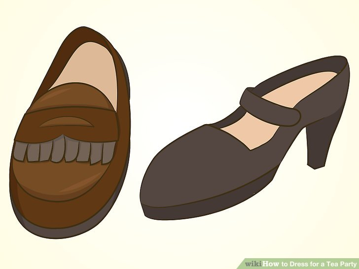 Choose dressy sandals or closed-toe dress shoes.