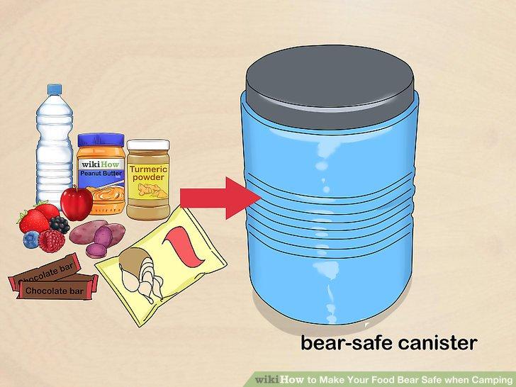 Verwenden Sie einen bärensicheren Kanister, um Ihre Lebensmittel aufzubewahren.