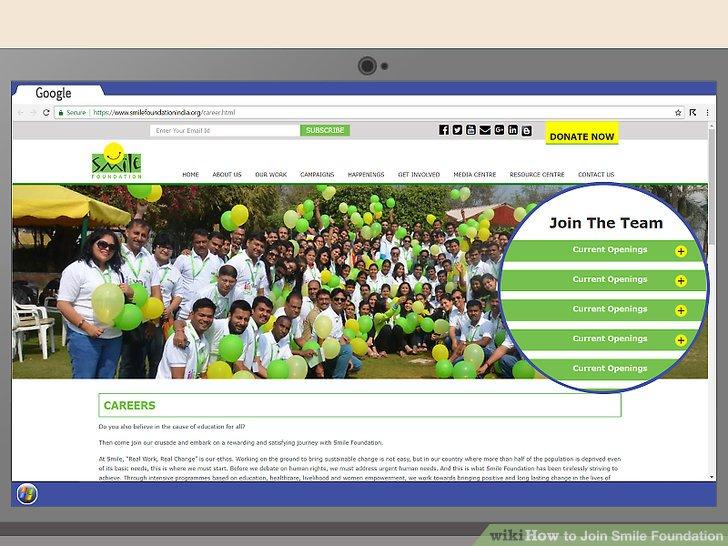 Besuchen Sie die Karriereseite der Smile Foundation, um aktuelle Stellenangebote zu finden.