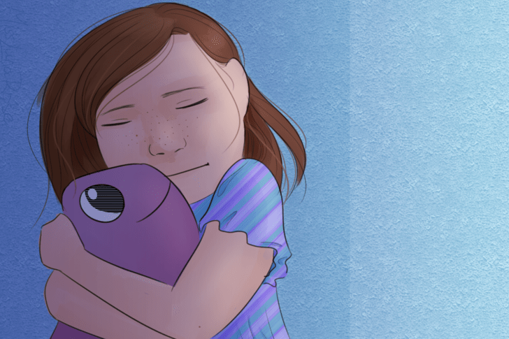 Little Girl Hugging Toy Fish in Corner.png