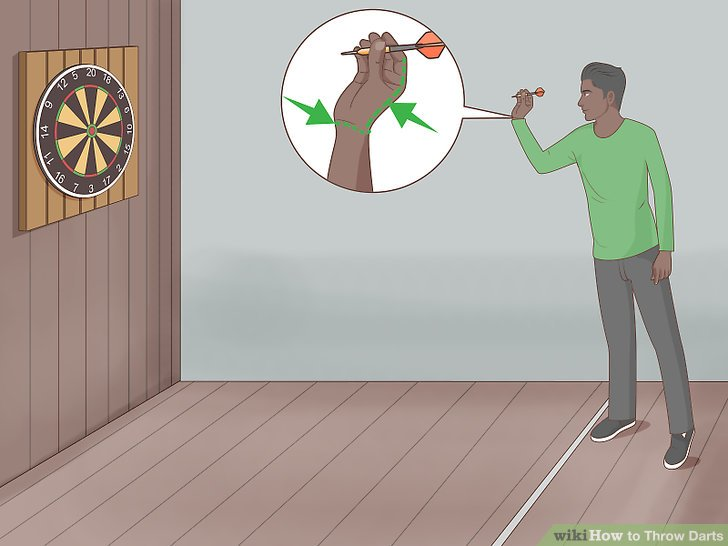Throw the dart with your hand and wrist.