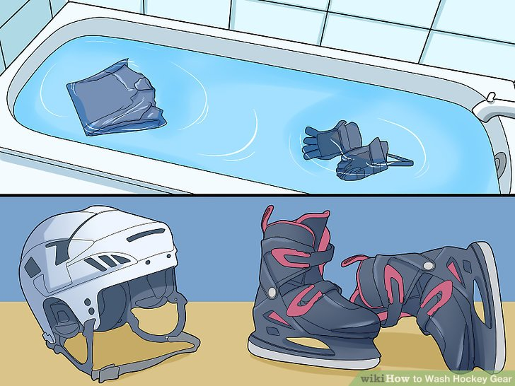 Put in all of the gear (minus the helmet and skates) into the tub.