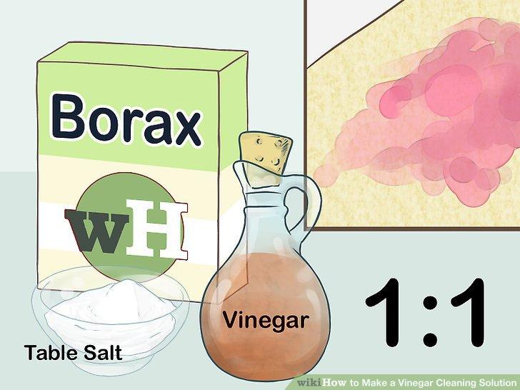 Entfernen Sie Teppichflecken zu gleichen Teilen mit Essig, Salz und Borax.