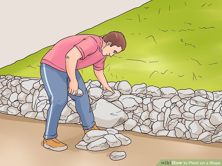 Create a retaining wall with ground soil or rock.
