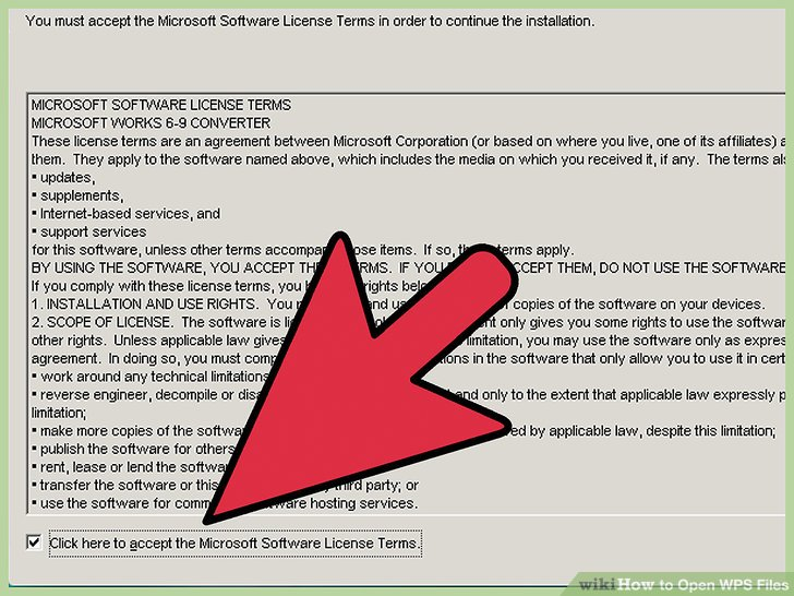 """Click on """"I accept the terms of the License Agreement,"""" then follow the on-screen instructions to install the Microsoft Works File Converter software on your computer."""