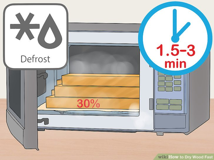 Microwave 15% to 25% MC wood at the lowest setting for 45 to 60 seconds.