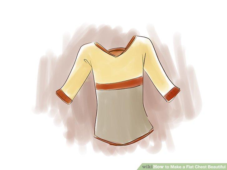 Suchen Sie nach Blusen mit horizontalen Streifen über der Brust, die jedoch unter der Brust eine durchgehende Farbe haben und den Rest des Rumpfes bedecken.