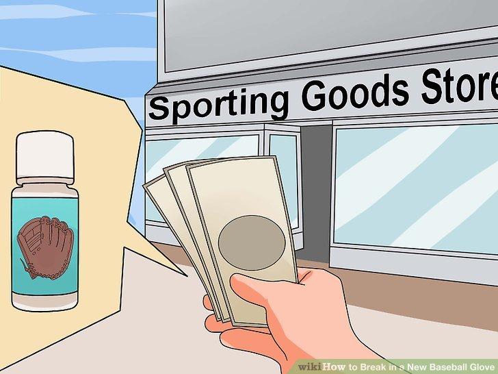 Kaufen Sie eine Baseballhandschuh-Schaumbehandlung in einem Sportgeschäft.
