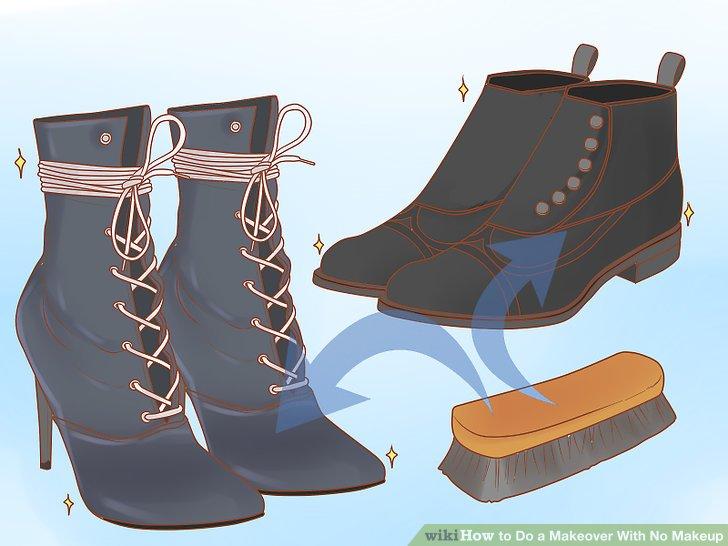 Polieren Sie Ihre Schuhe, bevor Sie sie anziehen.