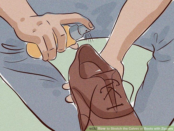 Besprühen Sie den Stiefel mit Streckspray, wenn Sie mehr Dehnung wünschen.