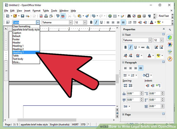 How to Write Legal Briefs with OpenOffice - Practical Information