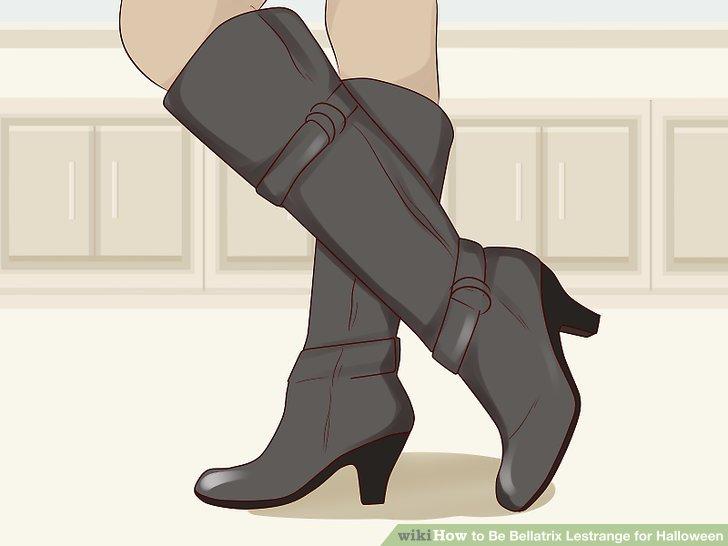 Wear black high-heeled boots.
