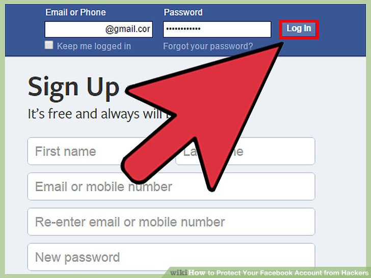 Log into your Facebook account.