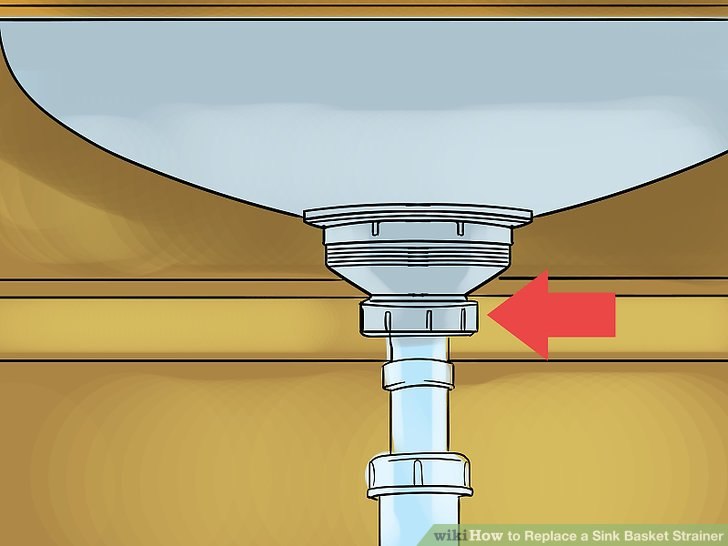 Unscrew the nut at the base of the basket strainer.