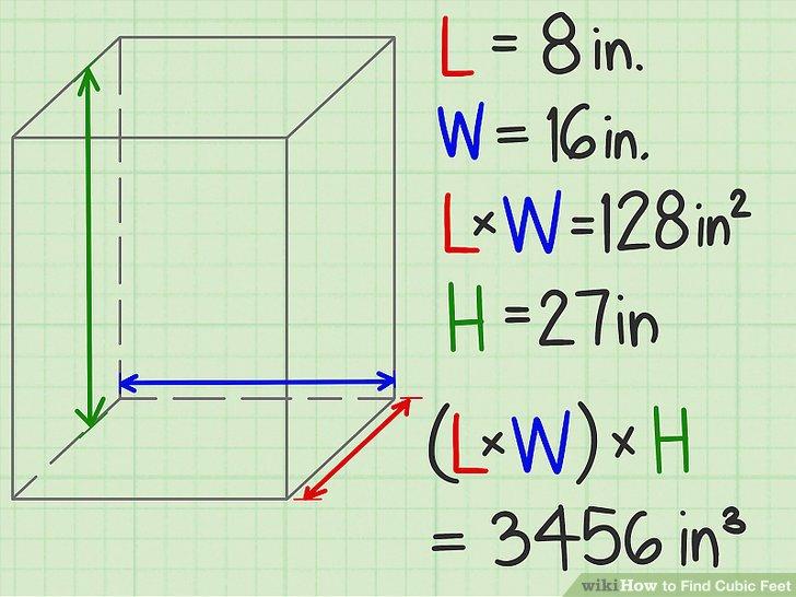 Multiplizieren Sie den zweidimensionalen Bereich der Basis mit der Höhe.