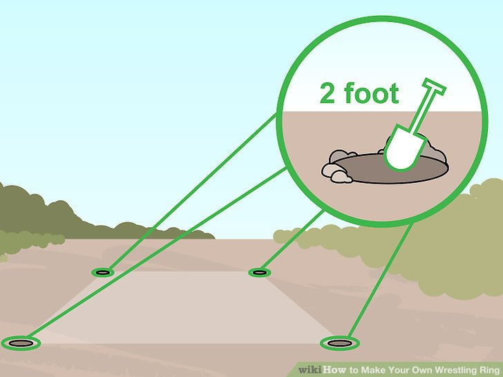 Dig a 2 foot (0.61m) deep hole in each corner of the square.
