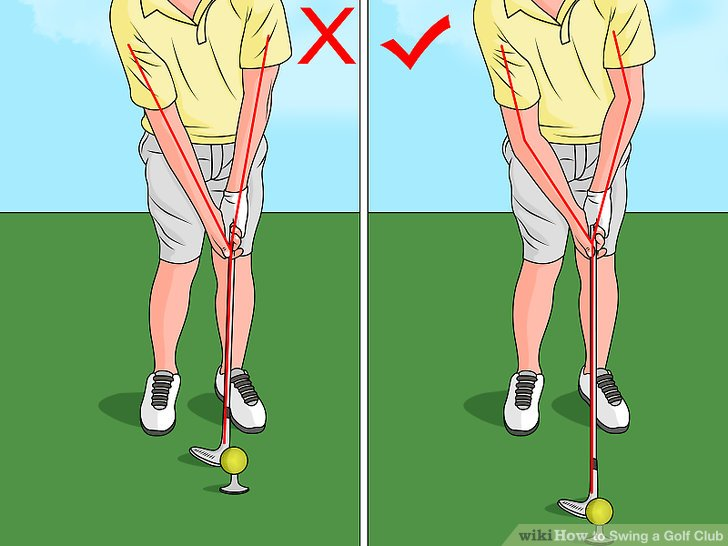Get close enough to the ball so that the middle of the club face reaches the ball with your arms out straight but still relaxed.