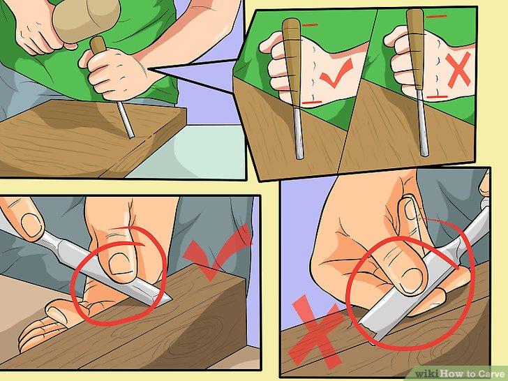 Halten Sie das Messer richtig.