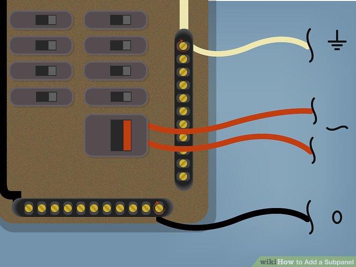 """Stecken Sie die """"heißen"""" Leiteranschlüsse (""""Leitung 1"""" und """"Leitung 2"""" oder schwarz, rot oder blau) in die Anschlussöffnungen des neuen zweipoligen Leistungsschalters in der Haupttafel."""