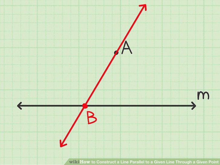 Draw a line through the given point and any point on the given line.