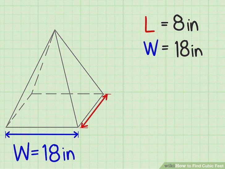 Messen Sie die Breite der Basis der Pyramide.