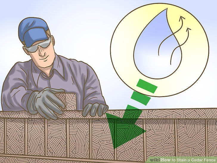 Make sure your fence is completely dry before staining it.