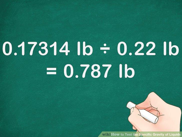 Berechnen Sie das Verhältnis des Gewichts der Flüssigkeit zum Gewicht des Wassers.