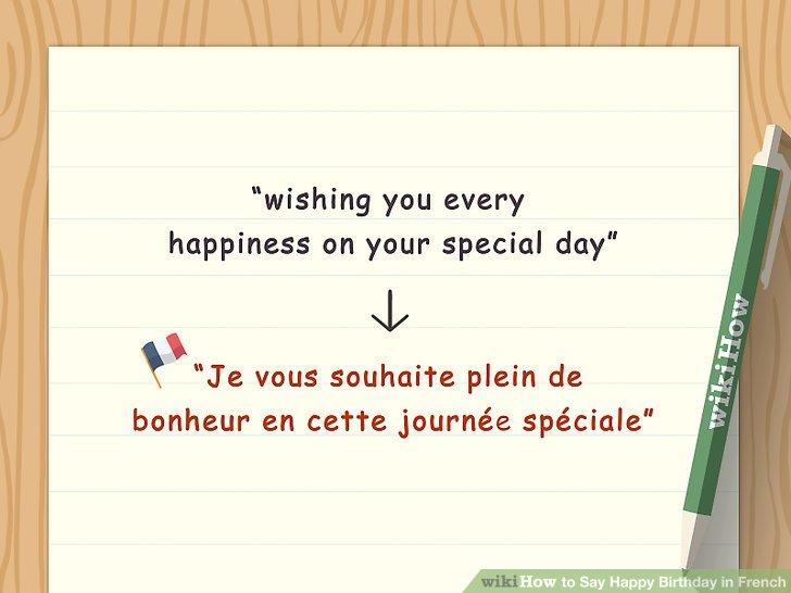 """Staat """"Je vous souhaite plein de bonheur"""" und """"cette journée spéciale""""."""