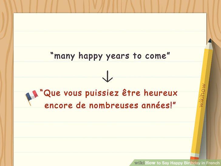 """Sagen Sie jemandem """"Que vous puissiez être heureux (oder heureuse, wenn Ihr Gesprächspartner weiblich ist) encore de nombreuses années!"""